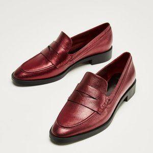 Women Zara Metallic Red leather  loafers 8